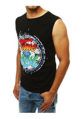 Čierne módne tričko s farebnou potlačou pre pánov