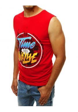 Módne pánske tričko červenej farby s farebnou potlačou
