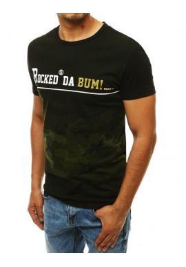 Zeleno-čierne štýlové tričko s potlačou pre pánov