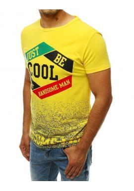 Klasické pánske tričko žltej farby so štýlovou potlačou
