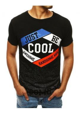 Čierne klasické tričko so štýlovou potlačou pre pánov