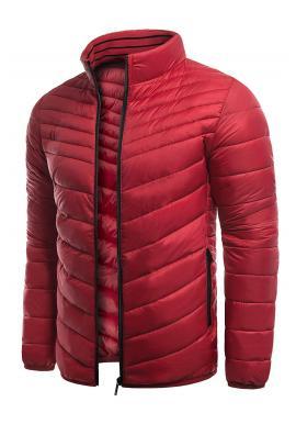 Pánska prešívaná bunda na prechodné obdobie v červenej farbe