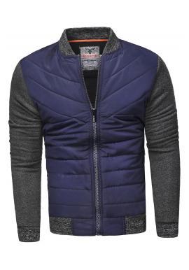 Pánska prešívaná bunda na jar v tmavomodrej farbe