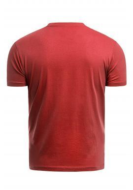 Červené bavlnené tričko s krátkym rukávom pre pánov