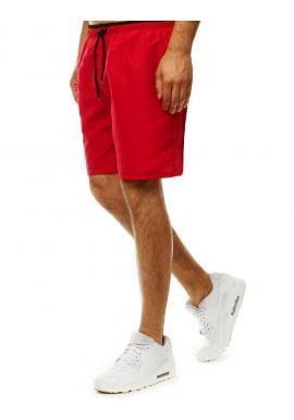 Kúpacie pánske šortky červenej farby s kontrastným detailom