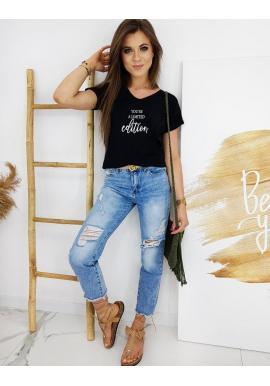 Dámske štýlové tričko s potlačou v čiernej farbe