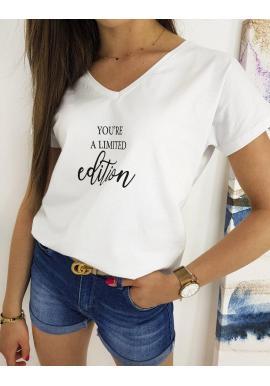 Biele štýlové tričko s potlačou pre dámy