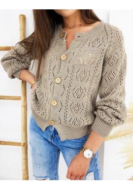 Béžový ažúrový sveter so zapínaním pre dámy