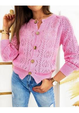 Ažúrový dámsky sveter ružovej farby so zapínaním