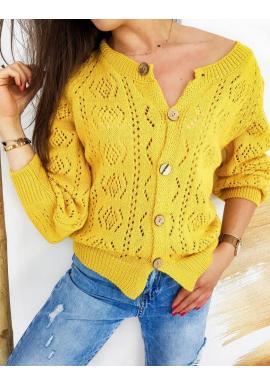 Dámske ažúrové svetre so zapínaním v žltej farbe