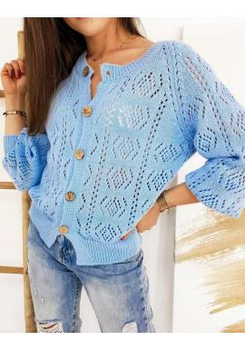 Svetlomodrý ažúrový sveter so zapínaním pre dámy