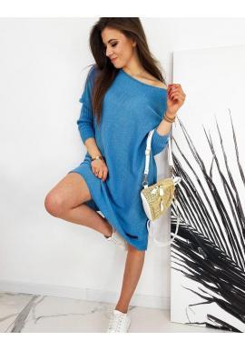 Oversize dámsky sveter tyrkysovej farby v štýle šiat
