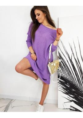Dámsky oversize sveter v štýle šiat vo fialovej farbe