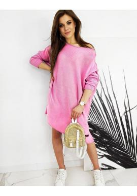 Ružový oversize sveter v štýle šiat pre dámy