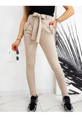 Dámske módne nohavice s vysokým pásom a viazaním v béžovej farbe