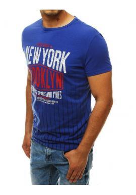 Modré športové tričko s potlačou pre pánov