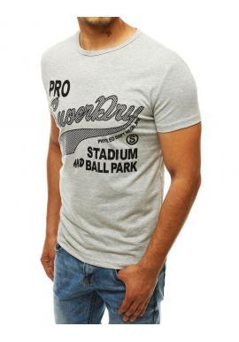 Svetlosivé klasické tričko s potlačou pre pánov
