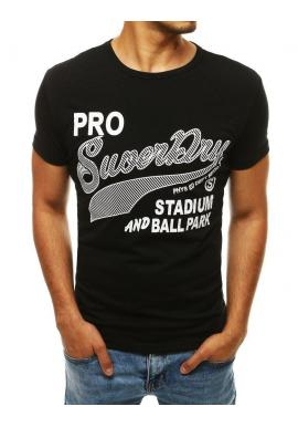 Pánske klasické tričko s potlačou v čiernej farbe