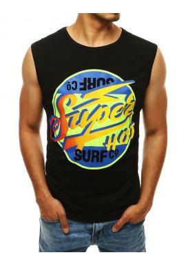 Čierne letné tričko s farebnou potlačou pre pánov