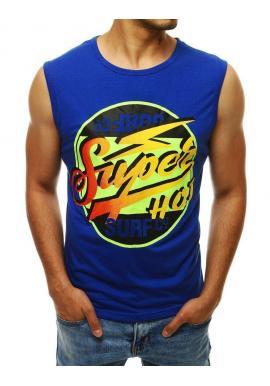 Letné pánske tričko modrej farby s farebnou potlačou