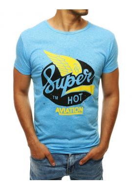 Pánske módne tričko s potlačou v svetlomodrej farbe
