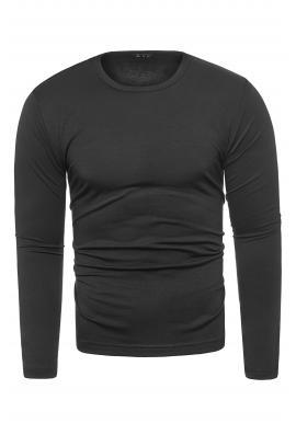 Klasické pánske tričko čiernej farby s dlhým rukávom