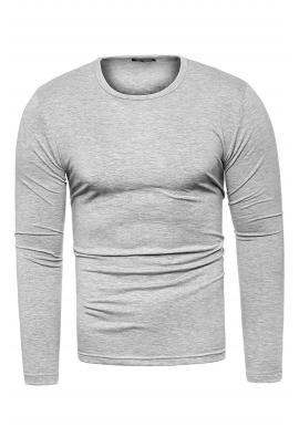 Pánske klasické tričká s dlhým rukávom v sivej farbe