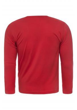 Červené klasické tričko s dlhým rukávom pre pánov