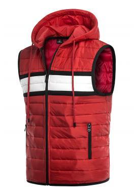 Červená oteplená vesta s kapucňou pre pánov