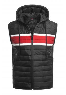 Pánske oteplené vesty s kapucňou v čiernej farbe