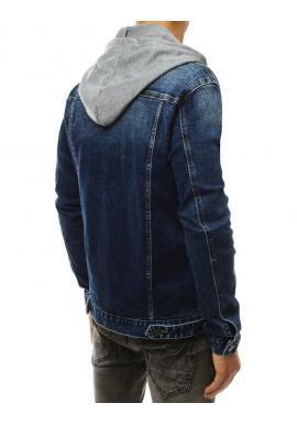 Modrá rifľová bunda s teplákovou kapucňou pre pánov