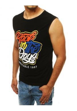 Pánske štýlové tričko s farebnou potlačou v čiernej farbe