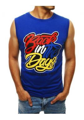 Modré štýlové tričko s farebnou potlačou pre pánov