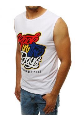 Štýlové pánske tričko bielej farby s farebnou potlačou