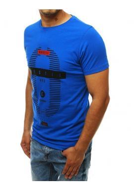 Klasické pánske tričko modrej farby s potlačou