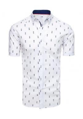 Pánska košeľa s motívom ananásov v bielej farbe