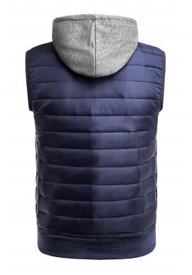 Pánska oteplená vesta s kapucňou v tmavomodrej farbe