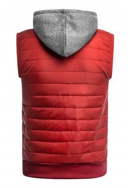Oteplená pánska vesta červenej farby s kapucňou