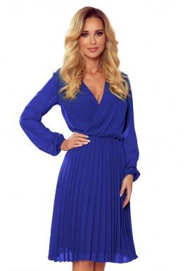 Modré plisované šaty s dlhým rukávom pre dámy
