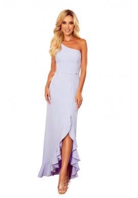 Dámske dlhé šaty na jedno rameno vo svetlofialovej farbe