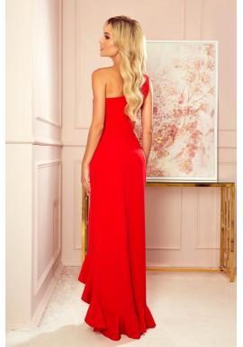 Červené dlhé šaty na jedno rameno pre dámy