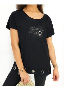 Čierna voľná blúzka s ozdobným nápisom pre dámy
