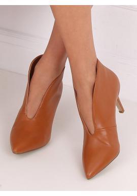 Hnedé elegantné poltopánky na podpätku pre dámy
