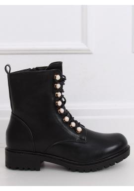 Čierne štýlové Workery s ozdobnými perlami pre dámy
