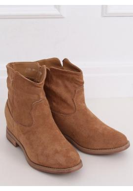 Semišové dámske topánky béžovej farby na skrytom opätku
