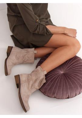 Béžové semišové čižmy pre dámy