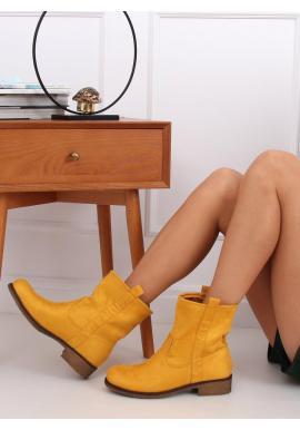Semišové dámske čižmy žltej farby