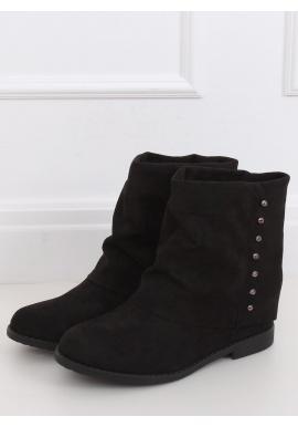 Čierne semišové topánky na skrytom opätku s golierom pre dámy