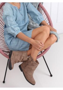 Semišové dámske topánky béžovej farby na skrytom opätku s golierom