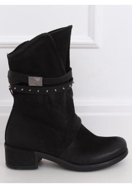 Čierne matné čižmy vo vojenskom štýle pre dámy